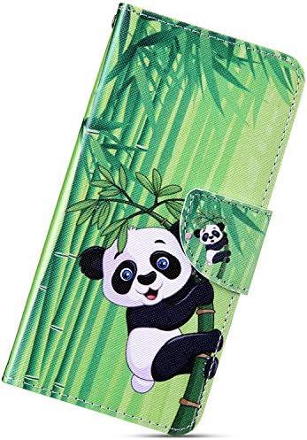 Urhause Kompatibel mit Samsung Galaxy J4 Plus 2018 Hülle, Gemalt Wallet Flip PU-Handyhülle mit [Kartenslots][Magnetverschluss] Ständer Funktion mit Lanyard Stoßfeste Schutzhülle,Panda Bambus