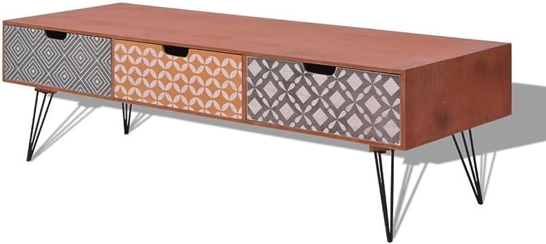 vidaXL Mueble para TV con 3 Cajones Diseño Retro 120x40x36 cm Marrón Mesita Aux.: Amazon.es: Electrónica