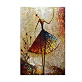 Metuu Oil Paintings, Ballet Dancer Girl Paintings Modern Home Decor Wall Art Painting Wood Inside Framed Hanging Wall Decoration Abstract Painting Ready to hang 24x36inch
