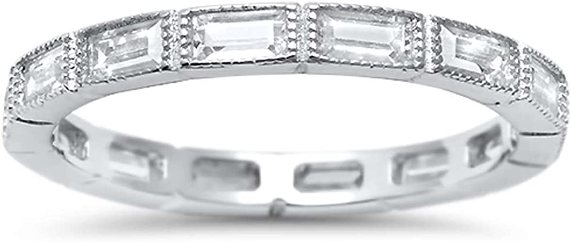 Black Sterling Silver Open Diamon Shape Stack CZ Knuckle Ring-Band-925