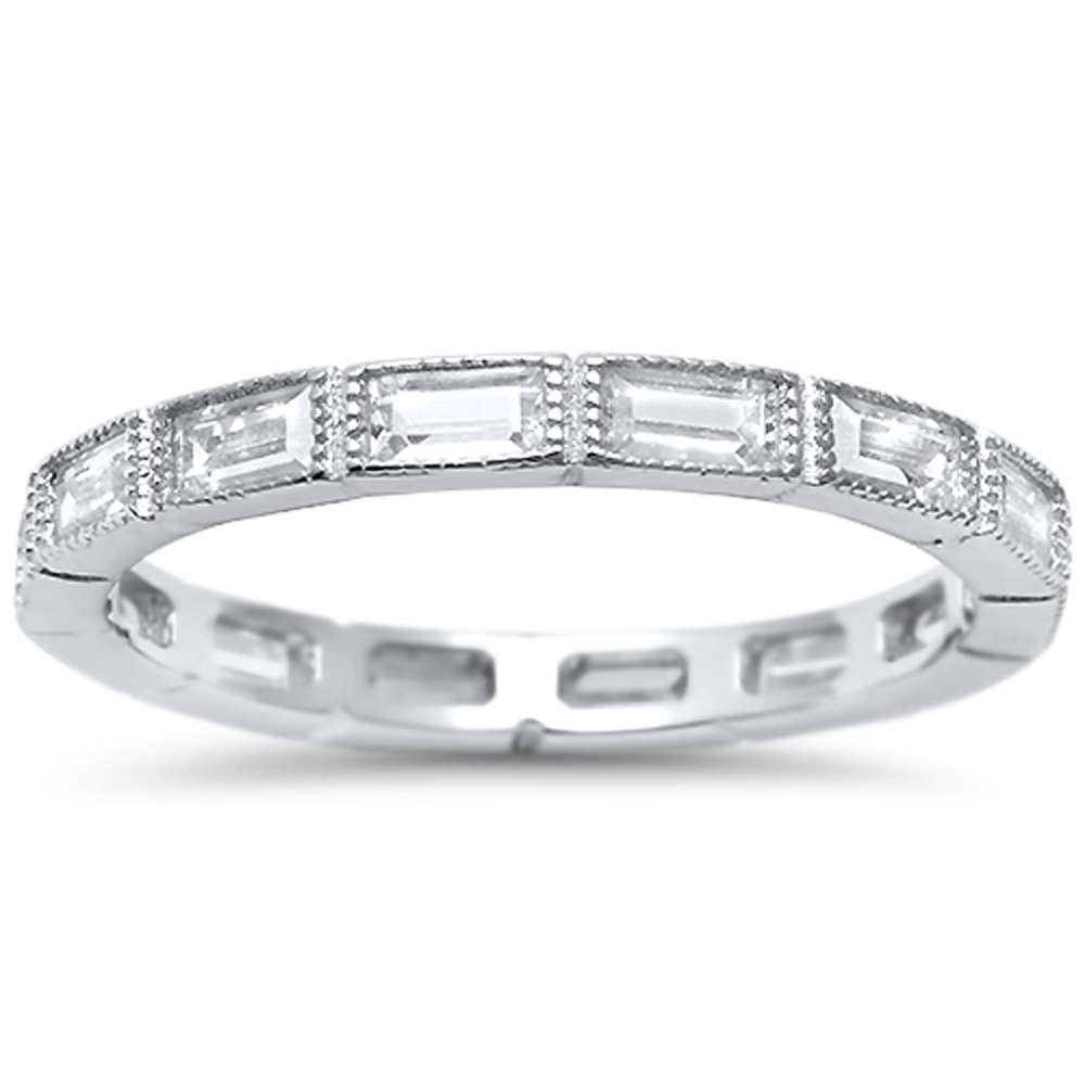 Sterling Silver Antique Style Baguette Cubic Zirconia Eternity Stackable Band Ring Sizes 7