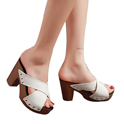 a407b53ad9e6 Haoricu High Heel Shoes Women Cross Strap Chunky Heel Wedges Sandal Thick  High-Heeled Flip