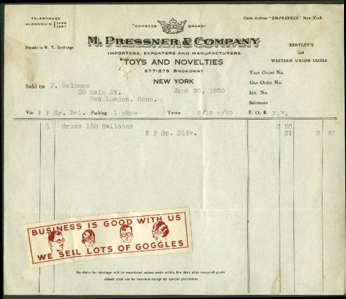 (M Pressner Toys & Novelties NYC invoice 1930 1 gross 150)
