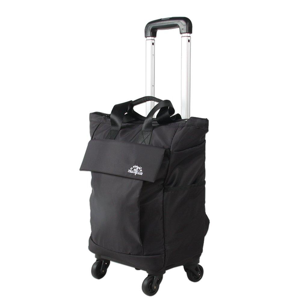 収穫台車キャリー ショッピングカート、トロリー旅行バッグの女の子のハンドバッグ近距離の光と大容量の荷物袋旅行袋搭乗トロリーバッグ (Color : Black, Size : 30*94cm) B07MHRKJWN Black 30*94cm