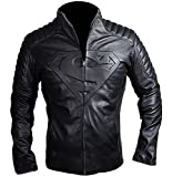 Spazeup Superman Smallville Black Quilted Motorcycle Faux Leather Jacket, Large