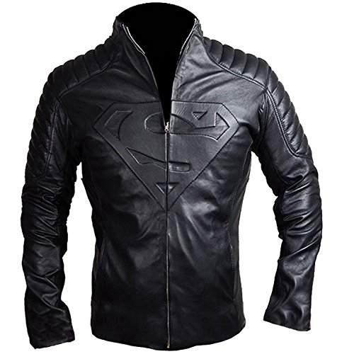 Spazeup Superman Smallville Black Quilted Motorcycle Leather (Leather Down Jacket)