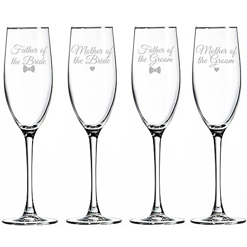 Parents of the Bride and Groom Champagne Toasting Flute Glasses, Set of 4