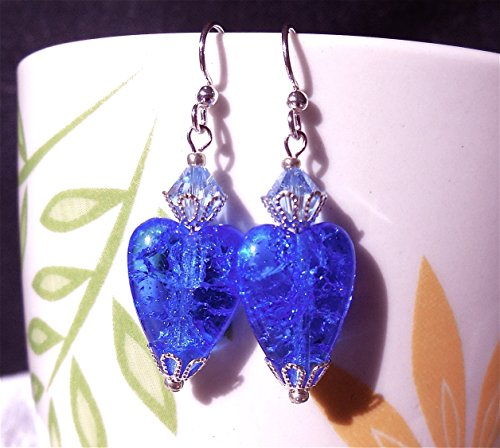 Sapphire Blue Crackle Glass Heart Swarovski Crystal Silver Earrings