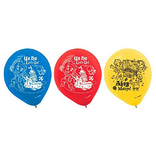 Design Ware Amscan AMI 111288 Jake and The Pirates Balloons for Party, 6 Pieces, Latex, Jake & Never Land Pirates birthday party, 12