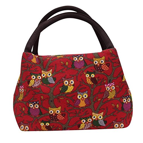 Box Womens School (Insulated Adult Lunch Bag,Thenlian Owl Thermal Insulated Tote Picnic Lunch Cool Bag Cooler Box Handbag Pouch with Strap for Men Women Kids (Red))
