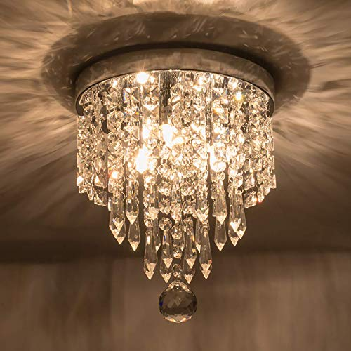 (Riomasee Mini Chandelier Crystal Ceiling Light 3 Lights Modern Crystal Chandeliers Flush Mount Crystal Light Fixture for Bedroom,Hallway,Living Room,Closet,Girls Room H10.63''xW8.66''(Chrome))