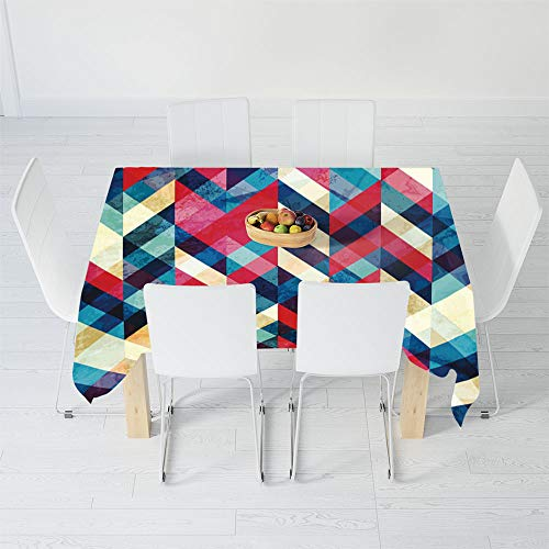 TecBillion Printed Tablecloth,Chevron,for Rectangle Table Kitchen Dinning Party,40.2 X 20.1 Inch,Zigzag Pattern Downward Parallel Lines Hipster Bohemian
