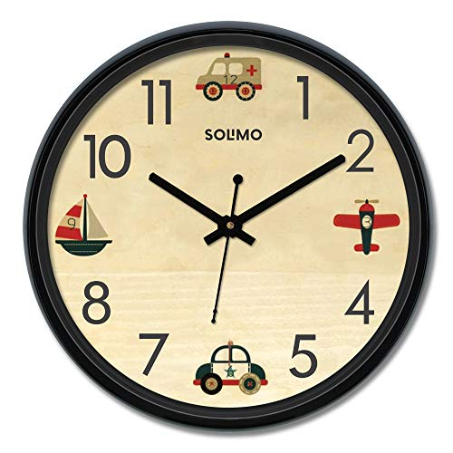 Amazon Brand – Solimo 12-inch Wall Clock – Travelbug (Silent Movement)