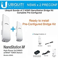 Ubiquiti NSM5 X 2 Units Nanostation M5 Bridge Kit Complete Pre-Configured