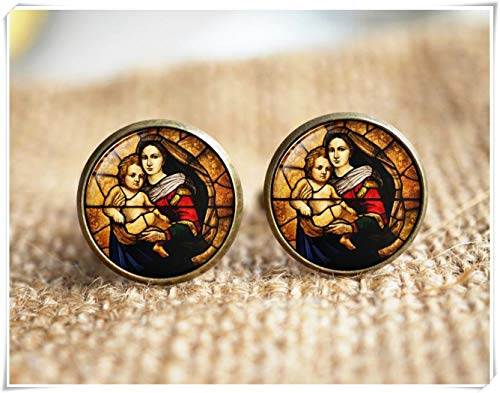 Goodnight cat Virgin Mary and Child Stained Glass,Christian Jewelry,Christian Gifts,Virgin Mary Cuff Links,Christian Earrings,Baby Jesus Jewelry