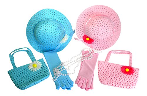 Butterfly Twinkles Girls Tea Party Hats Dress Up Play Set for 2 with Sun Hats Purses Gloves and Pearl Necklaces -