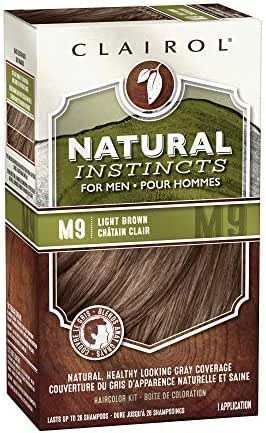 Clairol Natural Instincts Semi-Permanent Hair Dye Kit for Men, Light Brown, 3 Count