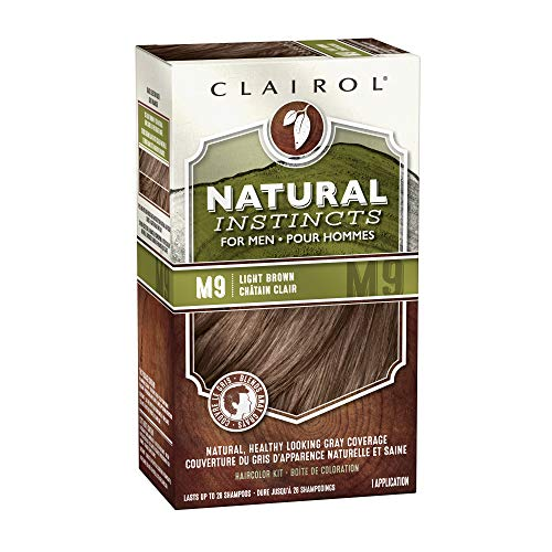 Clairol Natural Instincts Semi-Permanent Hair Color Kit For Men, 3 Pack, M9 Light Brown Color, Ammonia Free, Long Lasting for 28 Shampoos