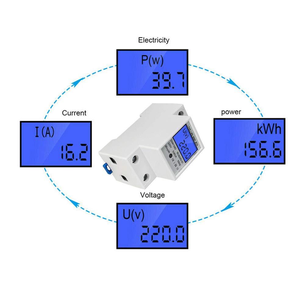 5 A, 1 fase, 2 polos, carril DIN 2P KWh 80 Contador de corriente alterna digital con pantalla LCD