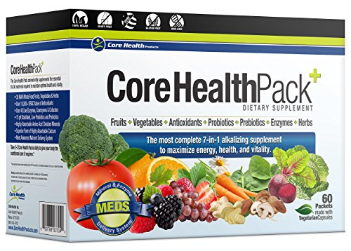 Core Health Pack 60 Packets - Enzymes, 15 Strains of Probiotics and Prebiotics, Plant Based Antioxidants Vitamins and Minerals