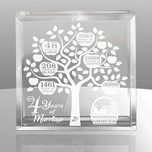 4 Years Wedding Anniversary, 4 Years of Marriage, 4 Years Together, Traditional Fruit Gift for 4th Anniversary, Husband & Wife, 4 Years Down Forever to Go Keepsake and Paperweight (Best Wedding Gift For Husband)
