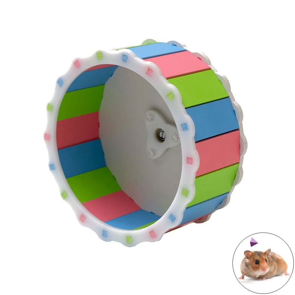 Loghot Colorful Sunflower Design Hamster Exercise Wheel Play Toys for Gerbil Rat Chinchillas Guinea Pig Squirrel Small Animals Toy