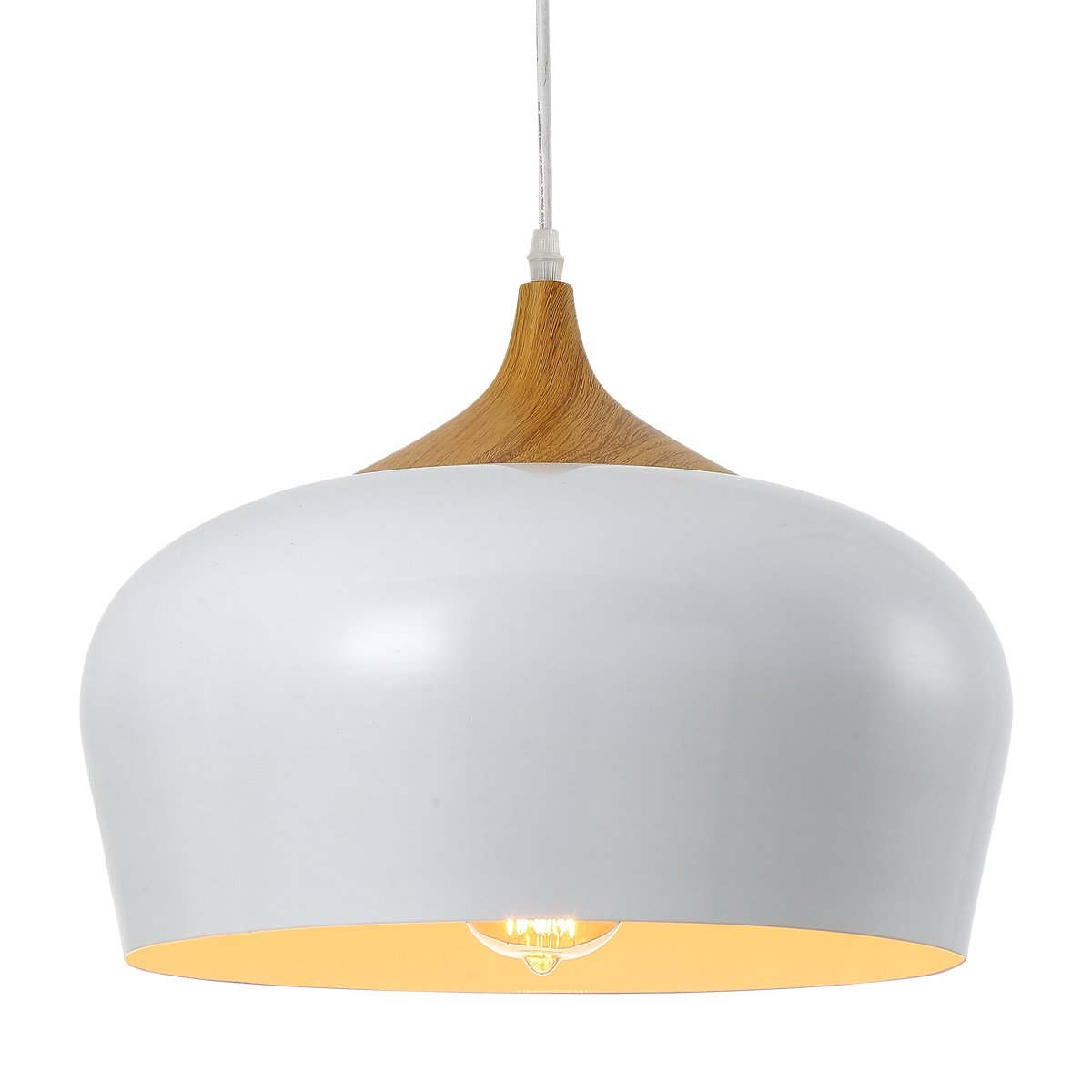 HOMIFORCE Modern Style 1-light Pendant Light with Shade in VintageIndustrial Edison Retro Style Hanging (Pisces White)