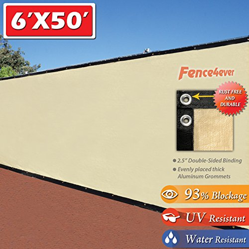 Six Fences (Fence4ever 6' x 50' 3rd Gen Tan Beige Fence Privacy Screen Windscreen Shade Fabric Mesh Netting Tarp ( Aluminum Grommets ))