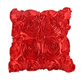 Clearance!Woaills Fashion Floral Decorative Satin Pillow Cover Throw Cushion Case (Red)