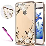 "6S Case,iPhone 6 Case,EMAXELER Luxury Bling Swarovski Crystal Rhinestone Diamond Case for iPhone 6S,plating Frame Flexible TPU Case for iPhone 6/6S(4.7"")Butterfly & White flowers[Gold]"