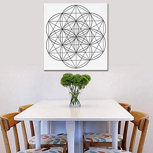 Anddoa 50x50cm Flower of Life Crystal Grid Cloth Sacred Geometry Healing Tablecloth Beautiful Decorations - #3