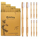 Natural Bamboo Toothbrush [8-Pack] Soft BPA Free Nylon Bristles & Individually Numbered Manual Toothbrushes by MitButy