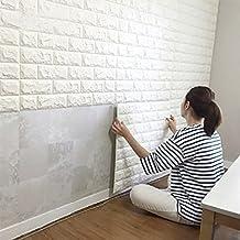 (5PCS, White)3D Brick Wall Stickers Self-adhesive Panel Decal PE Wallpaper