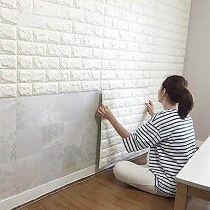 Amazon.com: 20PCS 3D Brick Wall Stickers PE Foam Self-adhesive ...