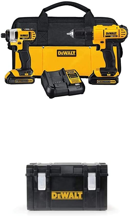 DEWALT DCK240C2 20v Lithium Drill Driver/Impact Combo Kit (1.3Ah) with DWST08203H Tough System Case, Large