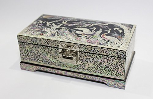 Chinese Ancient Craft Blue Mother-Of-Pearl Inlay Whole body mosaic Jewelry Box,Mosaic flower Necklace Box,Big Size Chinese Style Flower and Birds Handmade Hand Painted Dressing Case
