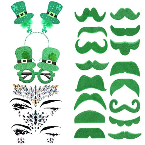 TUANTUAN 52 Pcs/Set Green Mustache Beard Shamrock Headband Eyeglasses Rhinestone Face Jewels Sticker St. Patrick's Day -