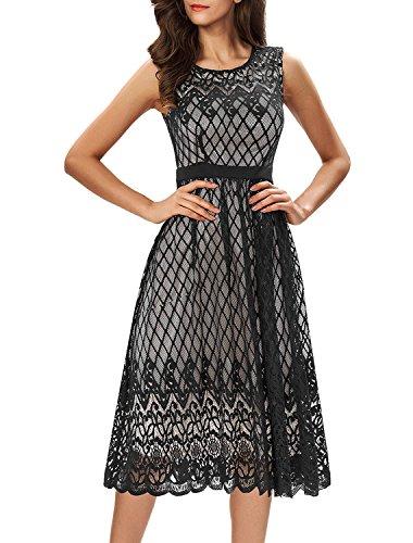 Noctflos Women's A Line Lace Cocktail Wedding Party Midi Swing Tea Dress Black M