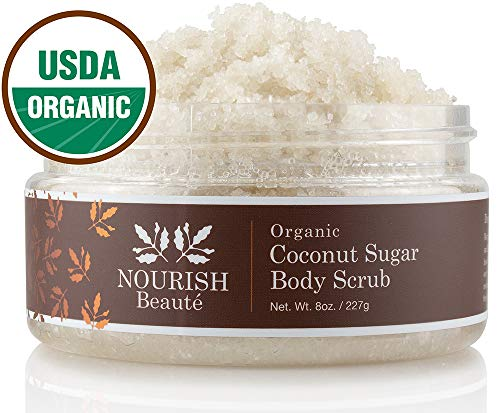 Nourish Beaute Organic Sugar Body Scrub That Exfoliates, Hydrates and Moisturizes Skin While Improving Skin Tone and Texture, 8 oz Coconut