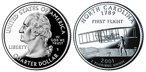 2001 S North Carolina State Silver Proof Quarter PF1 US Mint