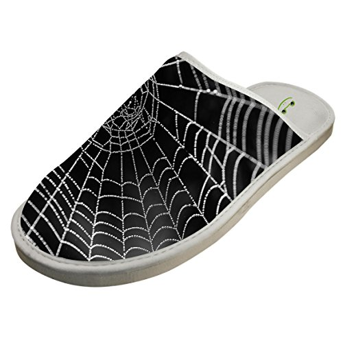 Black White Spider Web Slippers Indoor Slip-On Sandals Flat Sleeppers Shoes Original Flip-Flops Adults 9 by SePle