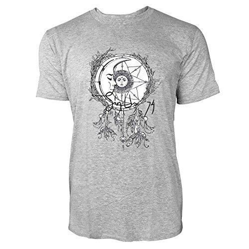 SINUS ART® Halbmond mit Sonne im Traumfänger Herren T-Shirts in hellgrau Fun Shirt mit tollen Aufdruck