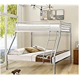Harper&Bright Designs with Ladder and Safety Rails (Silver) Twin Over Full Metal