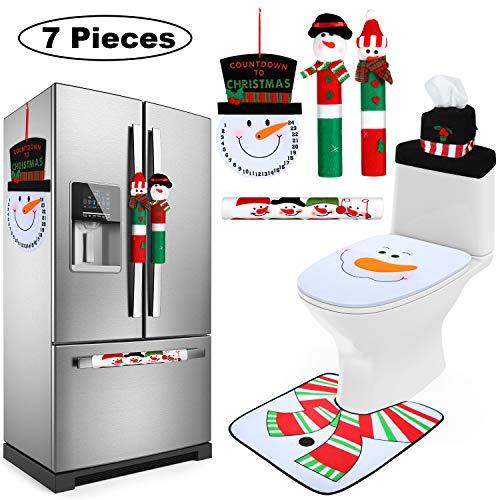 7 Pieces Christmas Snowman Refrigerator Handle Door Cover, Christmas Snowman Toilet Seat Covers and Snowman Advent…