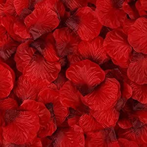 Rebecca online Silk Rose Petals Artificial Flower Wedding Party Vase Decor Bridal Shower Favor Centerpieces Confetti (Red Black-31) 80