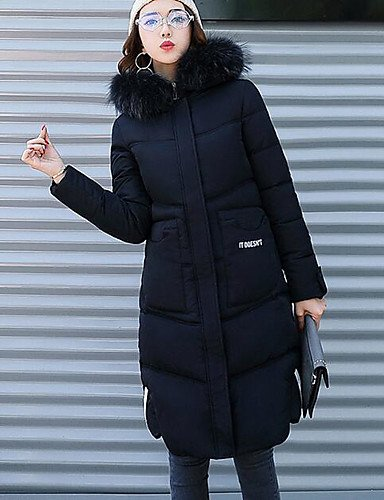ShangYi amp; S polipropileno Casual Simple TT manga larga de poliéster mujer largo acolchado tinta alfabética Abrigo unita YYYURONG qE14T5T