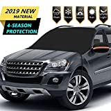 """SYOURSELF Car Windshield Snow Cover, 85""""x50"""" Extra Large &Magnets Double Side Design 210T Waterproof Outdoor Windshield Winter Cover,Fits Most Cars Trucks Vans and SUV+ Side Mirror Covers(Black)"""