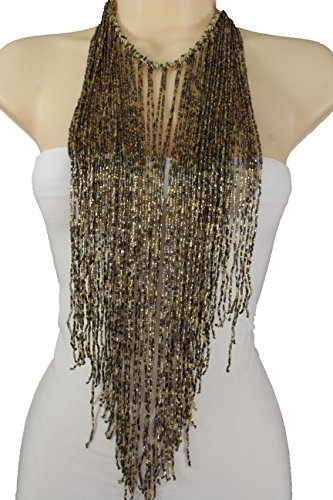 [TFJ Women Fashion Necklace Gold Bronze Metallic Beads Extra Long Fringes Multi Strings Dancing Club] (90s Hip Hop Costume)