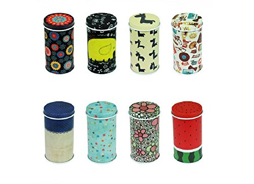 GracesDawn Set of 8 Home Kitchen Storage Containers Colorful Tins Round Tea Tins -