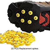 30 Pcs Universal Ice Traction Anti-Slip Replacement Spare Snow Spikes Fit Any Size Shoes for High Altitude Hiking Slip-Resistant Snow Ski